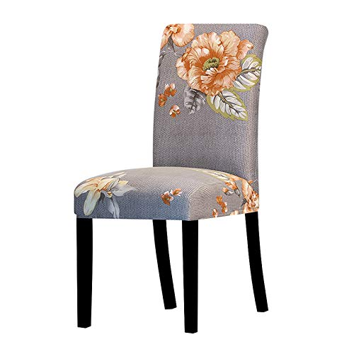 UIRK Esszimmer Stretch Stuhlhussen,Modern Dining Chair Protector Orange Blumendruck Retro Abnehmbare Waschbare Elastische Küchenstuhl Sitzbezüge Für Hotel Hochzeit Bankett, 1 Pc/Packung