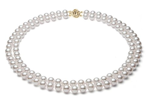 PremiumPearl 5-5.5mm White Double Strand Cultured Akoya Pearl Necklace AA  Quality Yellow Gold