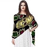 WJJSXKA Bufandas de gasa chal para mujer, bufandas envueltas para primavera y verano, calavera de azúcar, flores rojas, Halloween