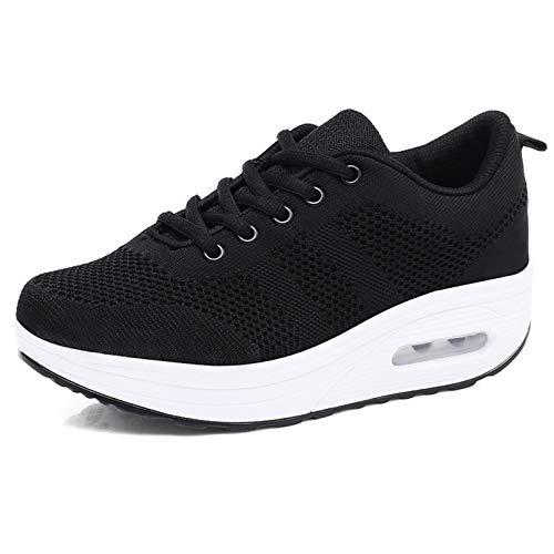 Zapatillas cuña Mujer Deportivas cuña Mujer Zapatos Deporte Gimnasio Zapatillas de Running Ligero Sneakers Cómodos Fitness Zapatos de Trabajo Negro A 39EU