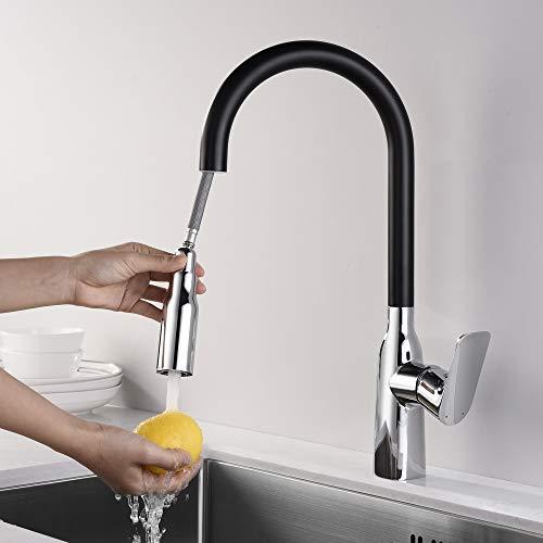 Homelody 360° Drehbar Küchenarmatur Wasserhahn küche Armatur mit brause Einhand Spültisch Mischbatterie,Schwarz