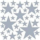 PREMYO 32 Estrellas Pegatinas Pared Infantil - Vinilos Decorativos Habitación Bebé Niños - Fácil de Poner Gris