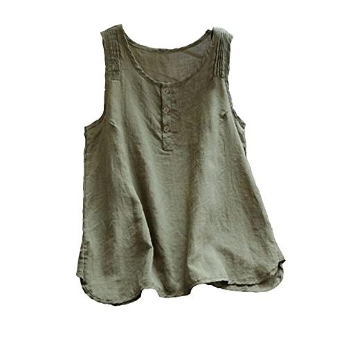 Camisas y blusas para mujer, sueltas y sueltas, de algodón, sin mangas, sexy, sin mangas, para oficina, talla Reino Unido