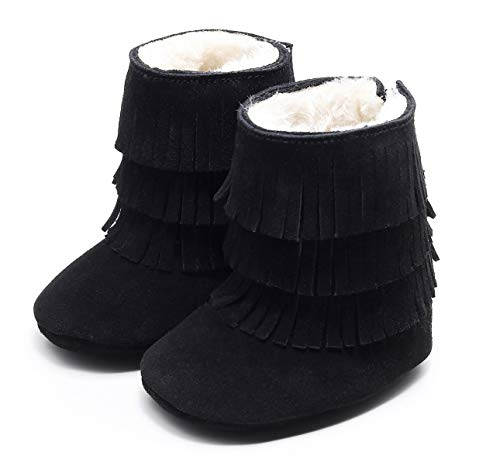 HONGTEYA Real Leather Fringe Baby Booties for Girls Boys Winter Warm Snow Boots with Tassels Soft Sole Fur LinedToddler Moccasins Shoes (3-6 Months Infant, Black)