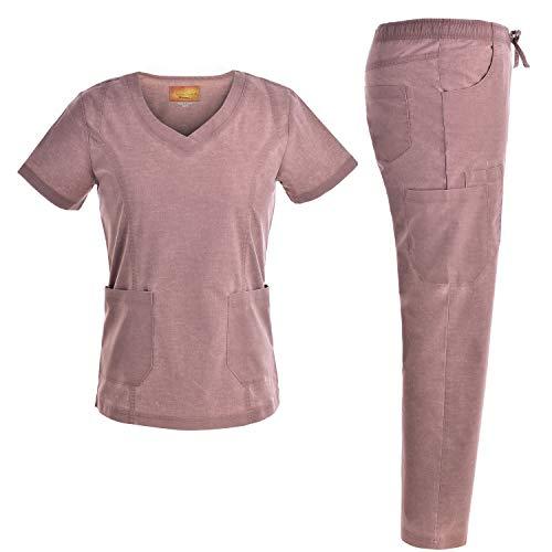 Women Stretch V Neck Set - Jeanish Washed Fashion Style 9 Pockets Fashion Workwear Top and Pants JS1604 (Camel, XL)