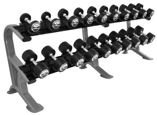 Heavy Duty Kurzhantel Studio Satz von 5 - 27,5Kg (10 Paar) inkl. Oval-Line Ablage / Rack