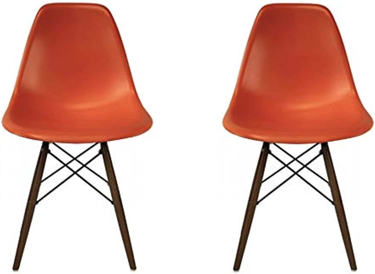 Take Me Home Furniture Eames Style Side Chair with Walnut Wood Legs Eiffel Dining Room Chair - Set of 2 (orange)