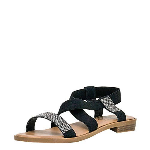 Fitters Footwear That Fits Damen Sandale Lynn Synthetik Basic Sandale mit Gummiband und Strass Übergröße (44 EU, schwarz)