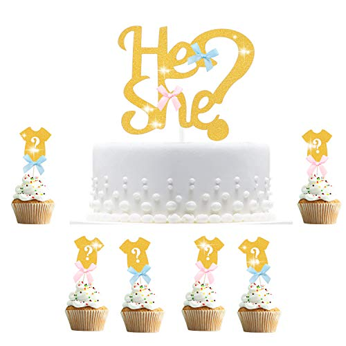 Hifot Kuchendekoration Baby Gender Reveal Party, 30pcs Cupcake Topper Dekorationen, Geschlecht Offenbaren Zeigen Kuchen Lebensmittel Dekoration Gold Tortendeko Kuchenaufsätze