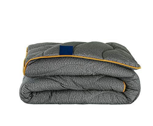 Night Owl Single Duvet 10.5 Tog - No Cover Required, Ready to Use & Washable - Soft Touch Microfibre Printed Design - Dark Grey/Yellow
