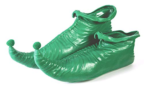 Elf Shoes Genie Jester Costume Slippers Polyester Soft Soles 1 Size Green or Red