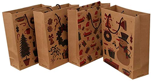 Frgasgds 24 Pieces Christmas Goody Bags Christmas Paper Bags with Stickers Santa Paper Bags Bags Christmas Kraft Paper Bags Cookie Bags Treat Bags Gift Bags for Holiday Christmas Party Favor