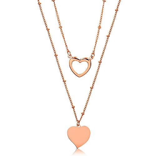 Colar duplo com pingente de coração liso e vazado folheado em ouro rosé