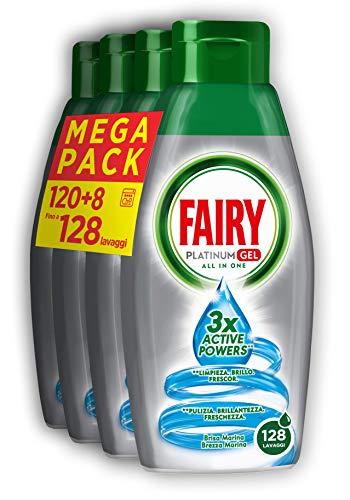 Fairy Platinum Gel Detersivo per Lavastoviglie, Brezza Marina, 30+2 Lavaggi, 100% Dissoluzione e una Pulizia Ottimale, 4 x 650 ml