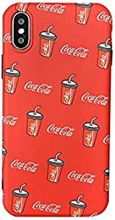 Slim Soft TPU Red Cocacola Coke Case for Apple iPhone X XS iPhoneX iPhoneXS Smooth Comfortable Protective Vintage Unique Classic Classy Cool Special Summer Fun Boys Teens Girls Men Gift