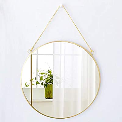 CoolXuan Hanging Mirror Golden Large Wall Mounted Makeup Mirror with Chain for Home Decor in Entryway Living Room Bathroom Bedroom (Round, L)
