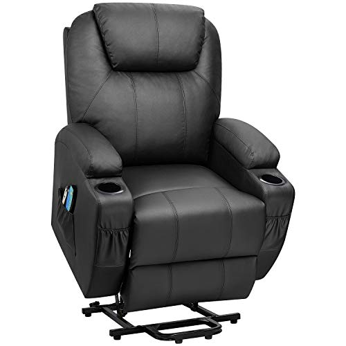 Flamaker Power Lift Recliner Chair PU Leather for Elderly with Massage and Heating Ergonomic Lounge Chair for Living Room Classic Single Sofa with 2 Cup Holders Side Pockets Home Theater Seat (Black)