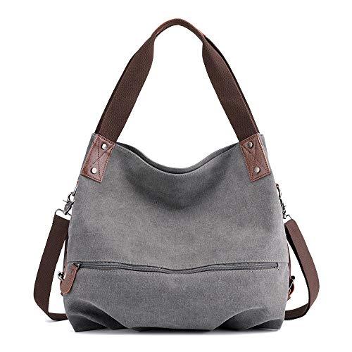 Lazzboy Umhängetasche Handtasche Damen Canvas kleine Vintage Shopper Tote Bag Bucket Bag(Grau)