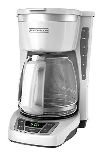 BLACK+DECKER 12-Cup Programmable Coffeemaker, White, CM1160W (Renewed)
