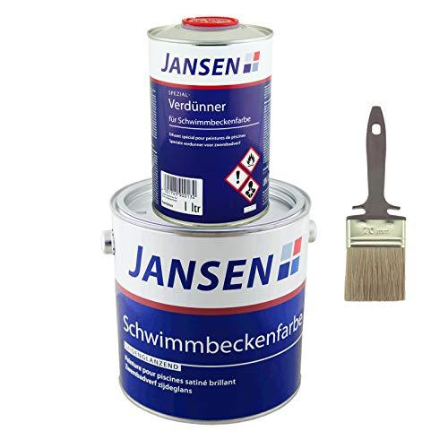 Jansen Schwimmbeckenfarbe (Poolfarbe) 2,5L Manganblau + Jansen Verdünner 1L + Lasurpinsel