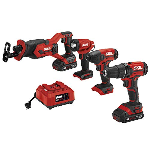 Read About SKIL 4-Tool Combo Kit: 20V Cordless Drill Driver, Impact Driver, Reciprocating Saw and LE...