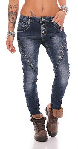 Fashion4Young MOZZAAR Damen Jeans Röhrenjeans Haremshose Hüftjeans Baggy Haremsjeans Boyfriend (S=36, 10793-Dunkelblau)