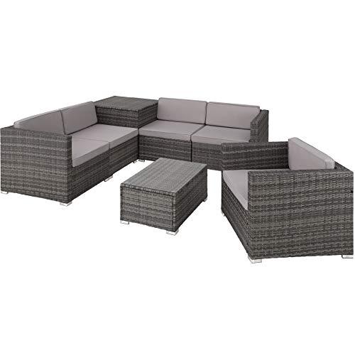 TecTake 800825 XXL Polyrattan Sitzgruppe, frei zu gruppierende Elemente, inkl. Aufbewahrungsbox mit Hubautomatik für Polster, Tisch mit Glasplatte (Grau | Nr. 403829)