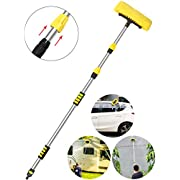 Buyplus Car Wash Brush with Long Handle - 12 Foot Telescopic Flow Through Car Washing Brush with Hose Attachment, Soft Bristle Head for RV, Trucks, No Scratch Dip Car Cleaning Water Brush