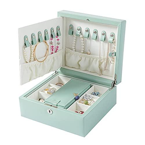 2 niveles de gran capacidad Joyería de joyería PU Organizador de joyería de cuero con espejo y bloqueo, pendiente anillo collar caja de almacenamiento regalo para niñas o mujeres ( Color : Blue )
