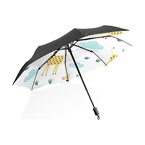 Auto Regenschirm Kinder Giraffe Lustige Particulr Tiere Tragbare Kompakte Taschenschirm Anti Uv Schutz Winddicht Outdoor Reise Frauen Doppelschicht Umgekehrt Winddicht Regenschirm