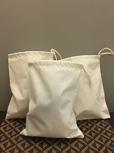 """Reusable Eco Friendly 10x12 Inches Cotton Thick Single Drawstring Muslin Bags""""Premium Quality (Natural Color)-25 Count Pack"""