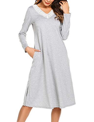 ADOME Damen Lang Nachthemd Langarm Sleepwear Spize am V-Ausschnitt Nachtkleid Still A-Linie Schlafkleid Casual Nachtwäsche Baumwolle Herbst Unterkleid grau s