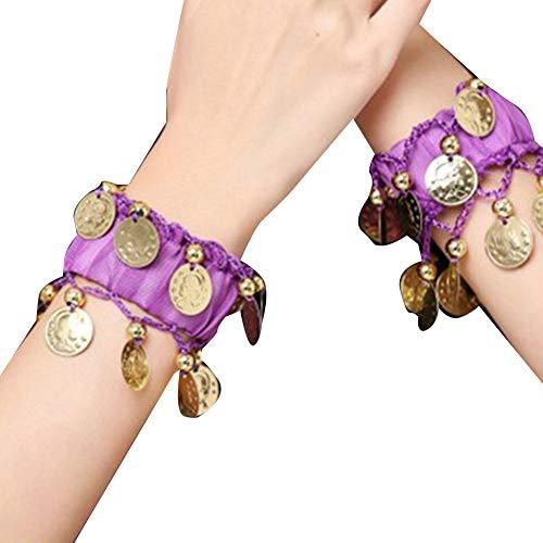 Guiran Bauchtanz Handgelenk Mit Goldfarbenen Münzen Handkette Manschette Armband Dunkelviolett Einheitsgröße