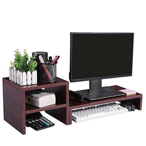 Superjare - Soporte de monitor ajustable con 2 estantes de almacenamiento, soporte de pantalla para ordenador portátil, TV, PC, organizador de escritorio multifuncional, grano de madera, color nogal