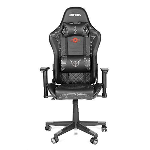 Call of Duty Sidewinder Silla de juego con altura ajustable, respaldo acolchado suave y cojines, negro, sala de juegos, silla para niños, silla de oficina