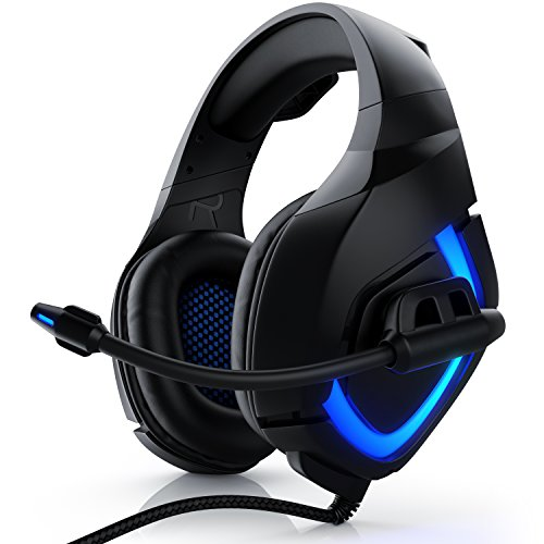 CSL - USB Gaming Headset PC mit Mikrofon - Kabelfernbedienung Externe Soundkarte - Mikrofon flexibel einklappbar - für Gaming Musik Internet-Telefonie - LED-Beleuchtung - für PC Mac