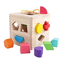 small GEMEM Shape Sorting Toy My First Wood 12 Building Block Geometry Study Matching Sorting…