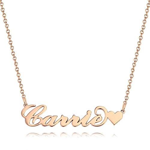 SOUFEEL Namenskette Carrie Kette mit Herz Namen Halskette Damen Halskette Freundschaftsketten Personalisiert Muttertag Geschenk mit Wunschnamen Rosegold vergoldet