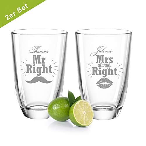 GRAVURZEILE 2er Set Montana GIN-Gläser - Mr Right & Mrs Always Right mit Namen - Schnurrbart & Kussmund - Geschenk zur Hochzeit - GIN-Liebhaber - Witziges Geburtstagsgeschenk