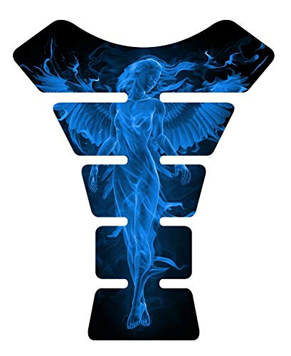 "8.6"" tall x 6.8"" wide Flaming Fire Angel Blue V2 3D Resin Gel Coating UV Resistant Motorcycle Sportbike Gel Tank Pad tankpad Protector Decal"