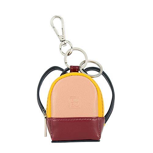 DUDU Mini-Rucksack Schlüsselanhänger farbig aus echtem Leder Multicolor mit Münzfach und Zwei Schlüsselringen Burgundy