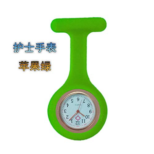 Aerlan Doctor Reloj de Bolsillo,Health Care Nurse Doctor Paramedic Broche Fob Watch,Reloj de Enfermera Reloj de Silicona Reloj de Bolsillo médico Reloj de Pecho-Apple Green_10pcs