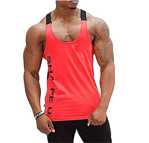 Deportivo Gym Camisetas Sin Manga Tank Tops de Tirantes Hombre Suelto Chaleco Fitness Gimnasio Algodón Tank Top
