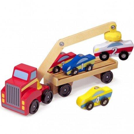 Melissa and doug - Jouet en bois Camion CHARGEUR transport aimanté + 4 VOITURES en bois Enfants dès 3 ans