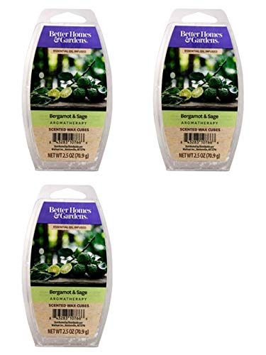 Better Homes and Gardens Bergamot & Sage Essential Oil Infused Wax Cubes - 3-Pack