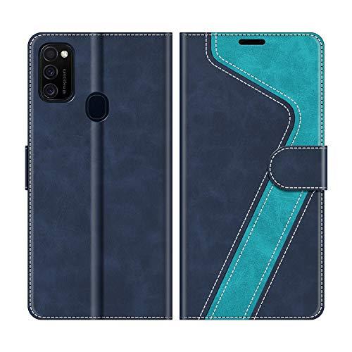MOBESV Handyhülle für Samsung Galaxy M21 Hülle Leder, Samsung Galaxy M21 Klapphülle Handytasche Hülle für Samsung Galaxy M21 Handy Hüllen, Modisch Blau
