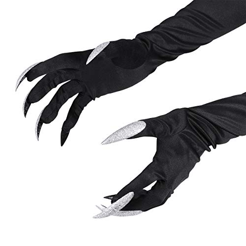 Amosfun 1 Paar Halloween-Kostümhandschuhe mit Langen Fingernägeln Krallenhandschuhe Fancy Cosplay Dress Up Kostümhandschuhe