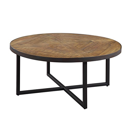 Emerald Home Denton Antique Pine Coffee Table with Round, Pieced Top And Metal Base