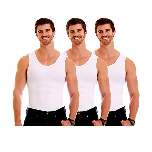 Insta Slim ISPRO Slimming Muscle Tank Top Shapewear Compression Shirt for Men - (Pack of 3) White, Large