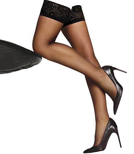 LivCo Halterlose Strümpfe mit Spitzenoberteil, transparentem Bein und unsichtbar verstärktem Zeh für Eleganz - Socks-Palace Edition (II, Schwarz)